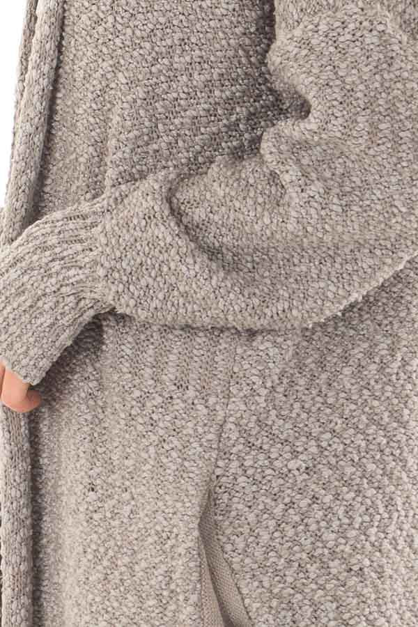 Cloud Grey Long Cardigan with Pockets detail