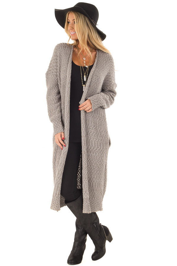 Cloud Grey Long Cardigan with Pockets front full body