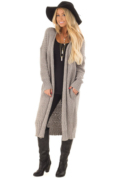 Cloud Grey Long Cardigan with Pockets front close up