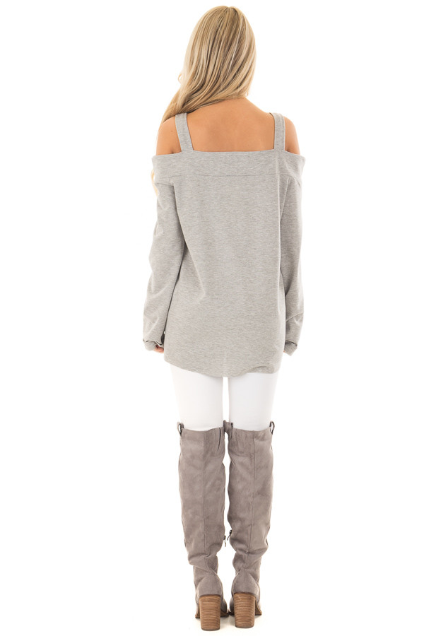 Heather Grey Cold Shoulder Top with Cut Out Neckline back full body