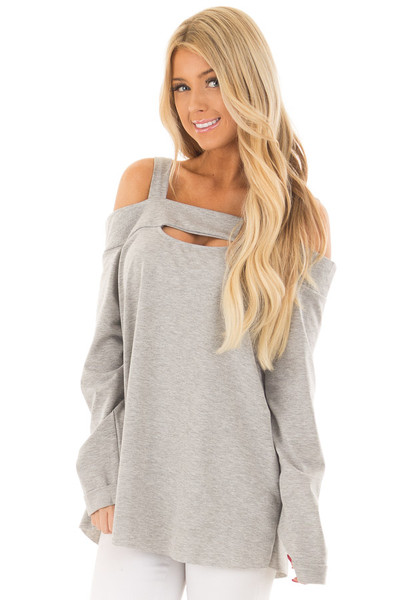 Heather Grey Cold Shoulder Top with Cut Out Neckline front close up