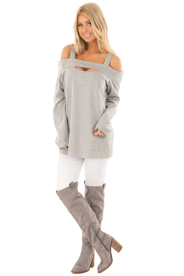 Heather Grey Cold Shoulder Top with Cut Out Neckline front full body