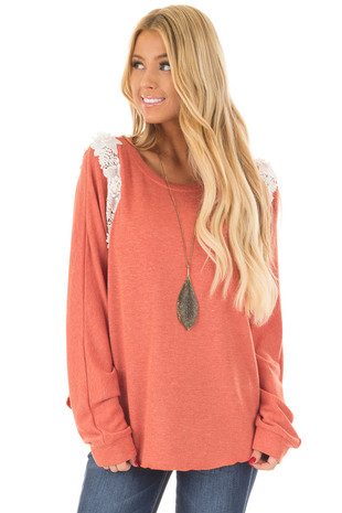 Rust Sweater with Detailed White Lace front close up