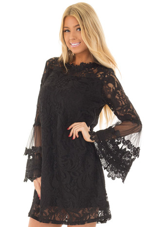 Black Lace Dress with Sheer Bell Sleeves front close up