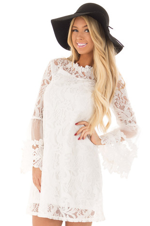 White Lace Dress with Sheer Bell Sleeves front close up