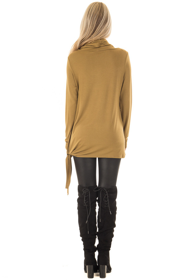 Dark Mustard Cowl Neck Top with Side Tie back full body