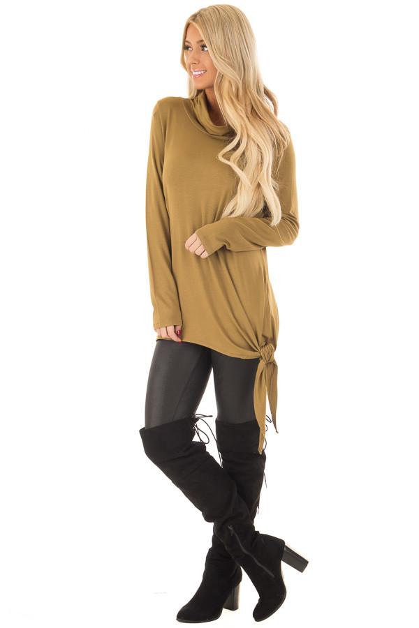 Dark Mustard Cowl Neck Top with Side Tie front full body