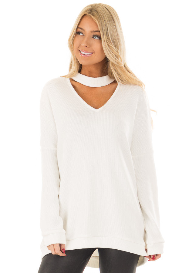 White Sweater with Chest Cutout front close up