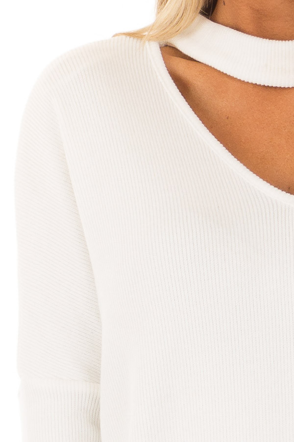 White Sweater with Chest Cutout detail