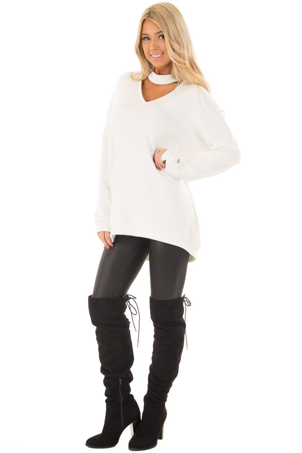 White Sweater with Chest Cutout front full body