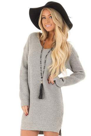 Heather Grey Long Sleeve Sweater Dress front close up
