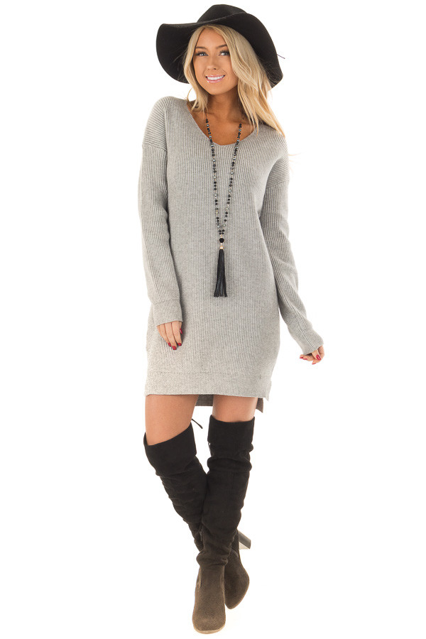 Heather Grey Long Sleeve Sweater Dress front full body