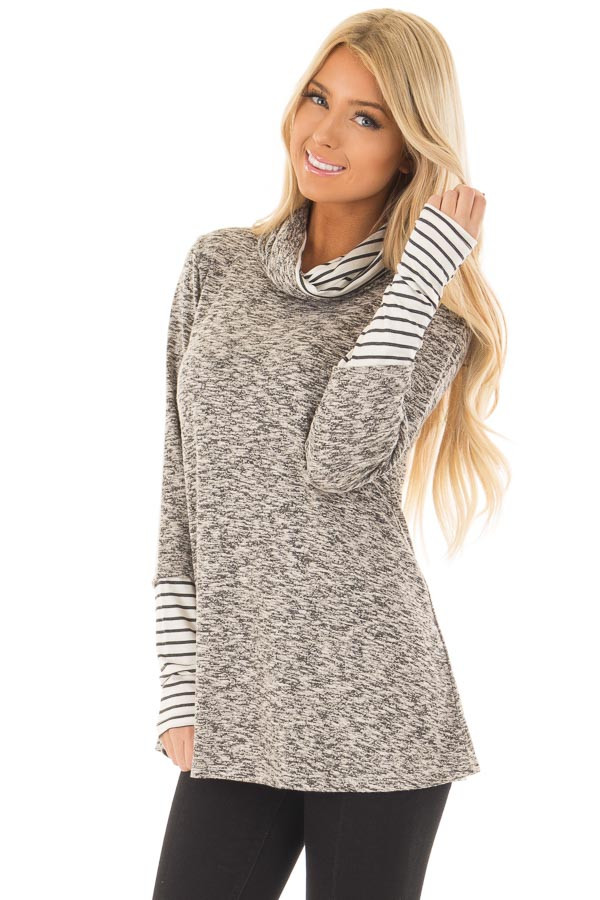 Heather Grey Top with Striped Cowl Neck and Cuffs front close up
