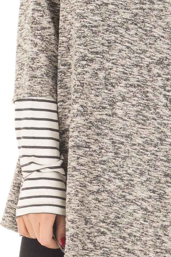 Heather Grey Top with Striped Cowl Neck and Cuffs detail