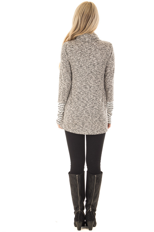 Heather Grey Top with Striped Cowl Neck and Cuffs back full body