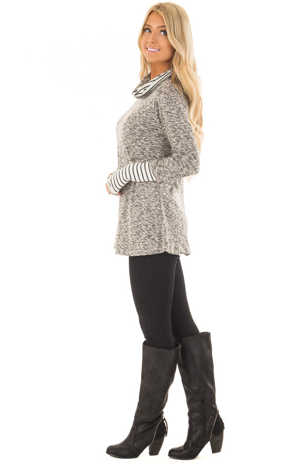 Heather Grey Top with Striped Cowl Neck and Cuffs side full body