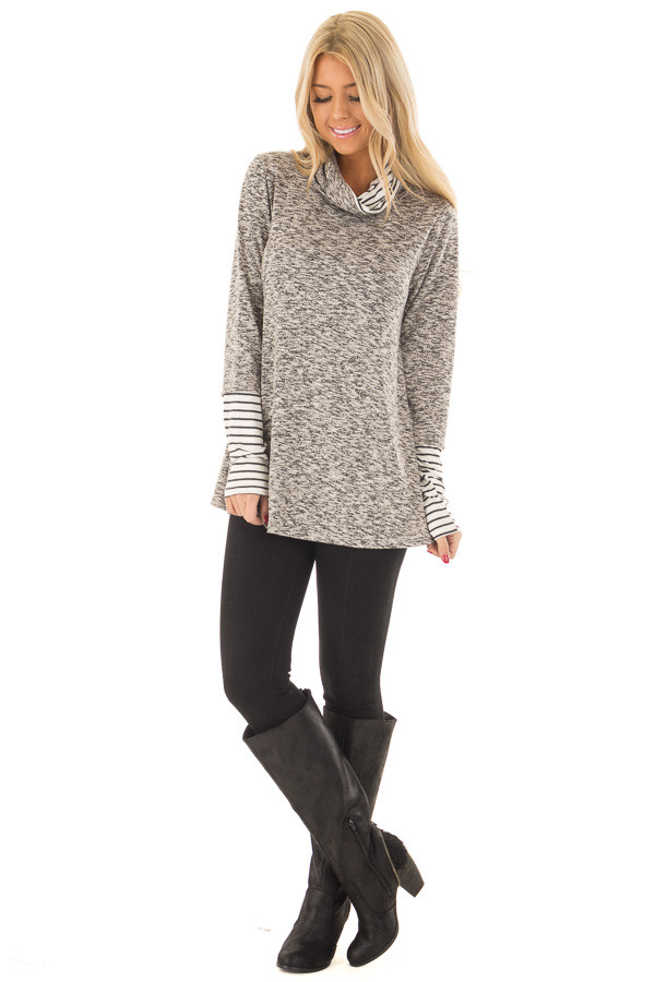 Heather Grey Top with Striped Cowl Neck and Cuffs front full body