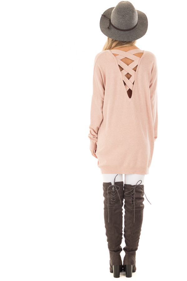Blush Soft Knit Sweater with Criss Cross Band Back back full body
