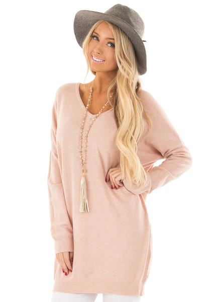 Blush Soft Knit Sweater with Criss Cross Band Back front close up