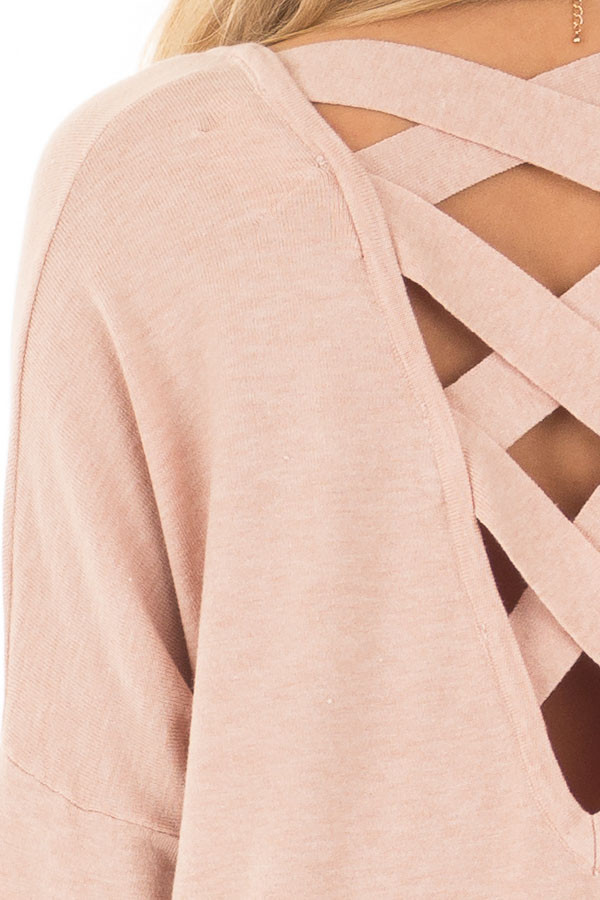 Blush Soft Knit Sweater with Criss Cross Band Back detail