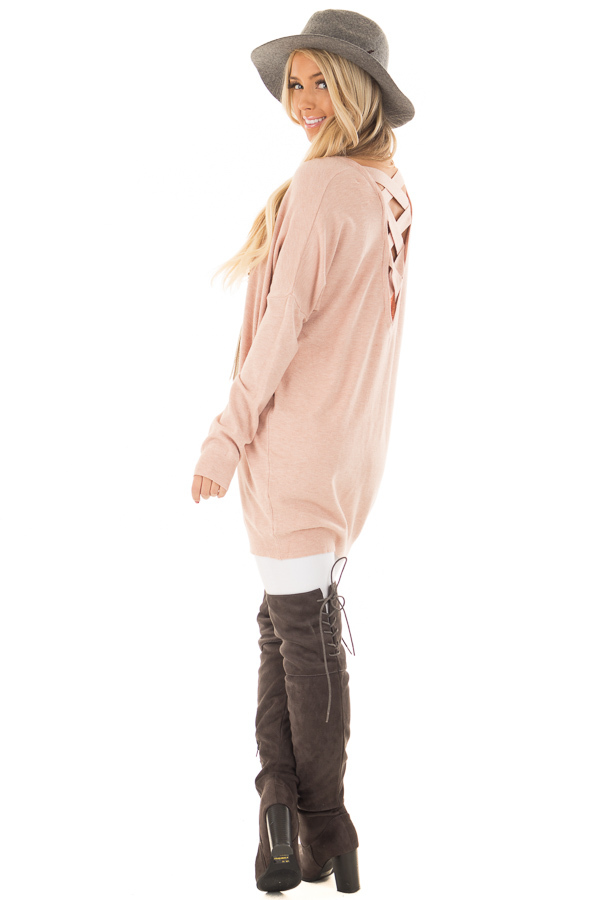 Blush Soft Knit Sweater with Criss Cross Band Back back side full body