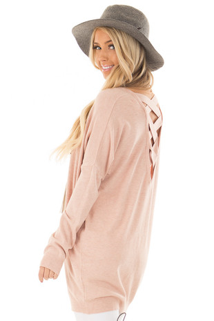 Blush Soft Knit Sweater with Criss Cross Band Back back side close up