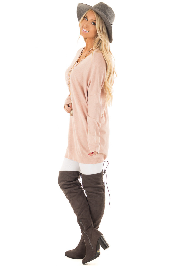 Blush Soft Knit Sweater with Criss Cross Band Back side full body