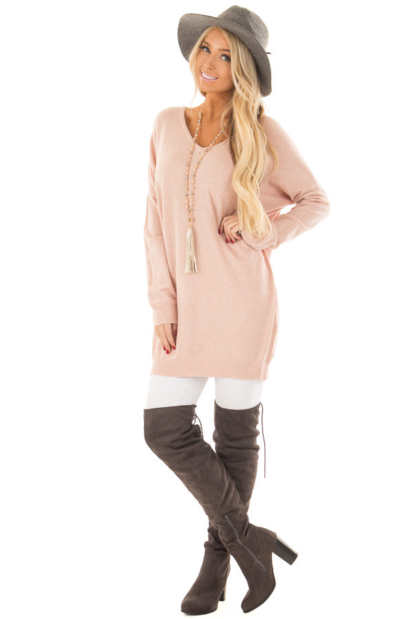 Blush Soft Knit Sweater with Criss Cross Band Back front full body