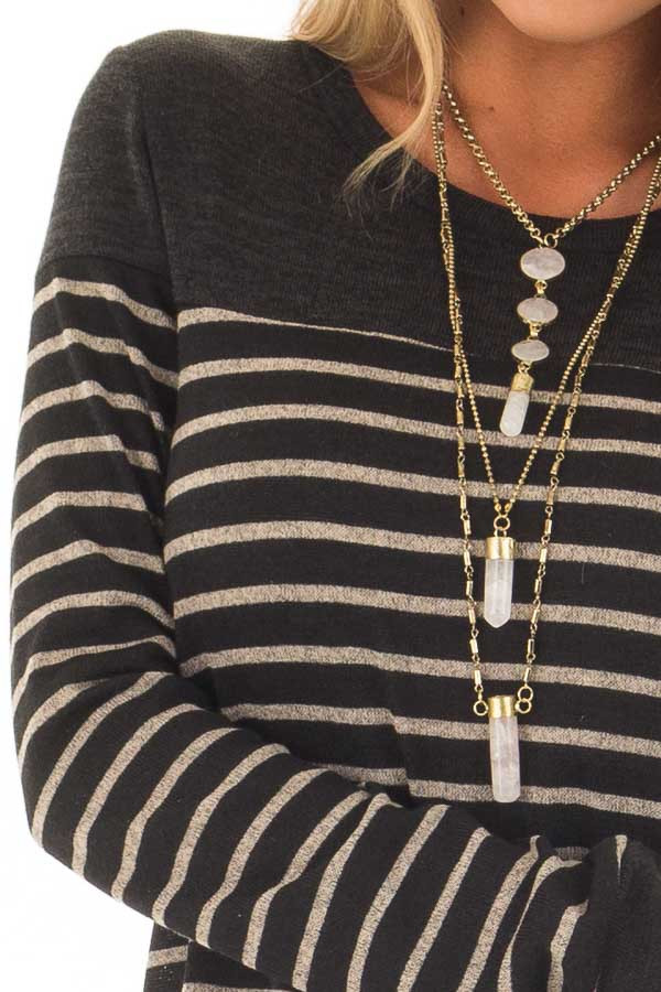 Black and Taupe Striped Top with Black Color Block detail