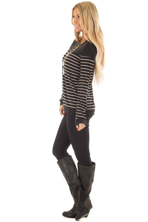 Black and Taupe Striped Top with Black Color Block side full body