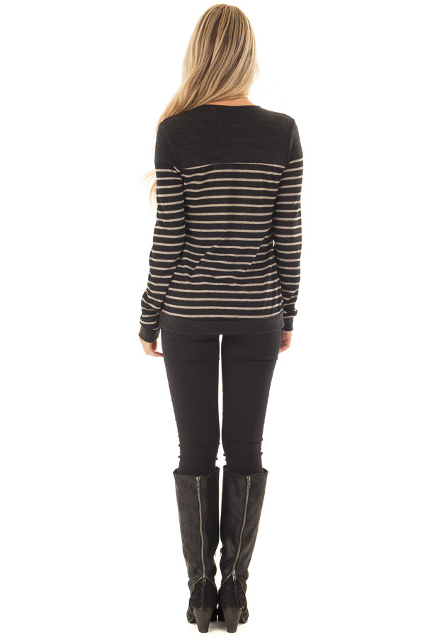 Black and Taupe Striped Top with Black Color Block back full body