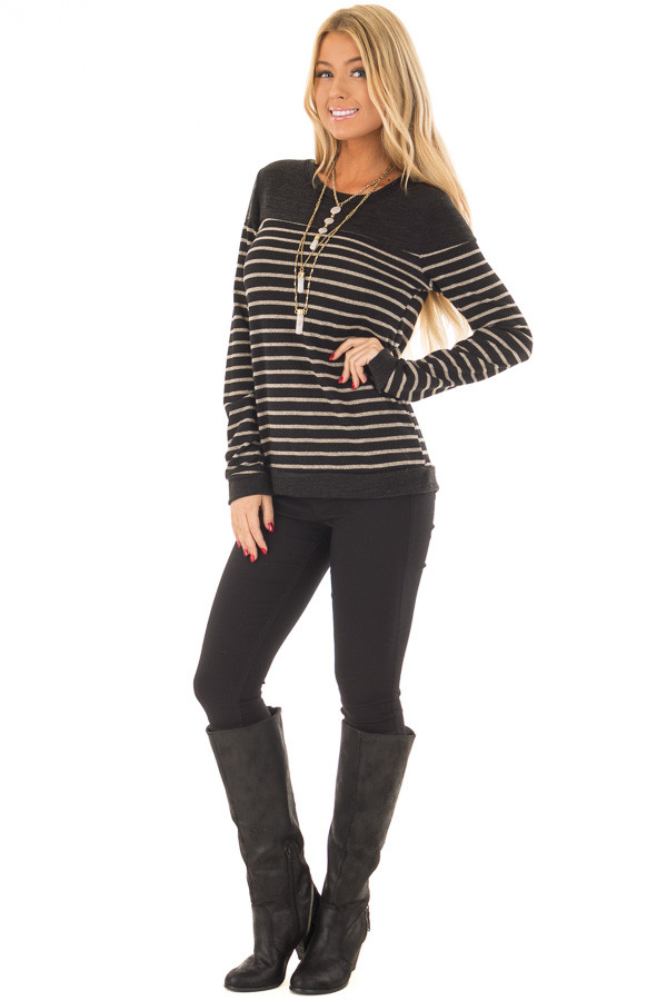 Black and Taupe Striped Top with Black Color Block front full body