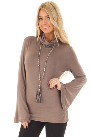 Mocha High Neck Top with Long Flare Sleeves front close up