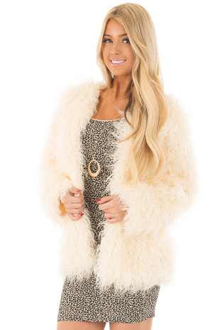 Cream Faux Fur Jacket front close up