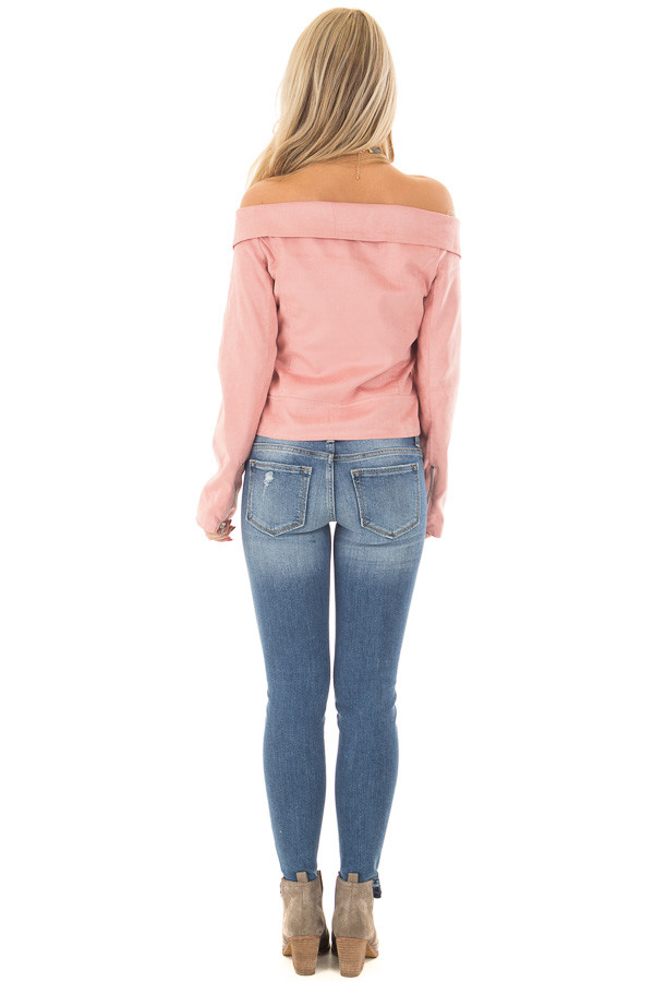 Dusty Pink Faux Suede Off the Shoulder Moto Jacket back full body