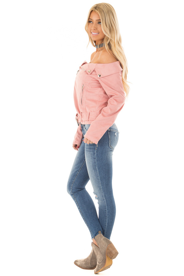 Dusty Pink Faux Suede Off the Shoulder Moto Jacket side full body