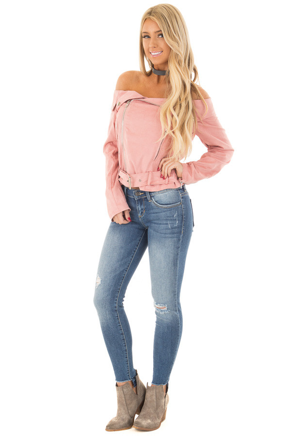 Dusty Pink Faux Suede Off the Shoulder Moto Jacket front full body