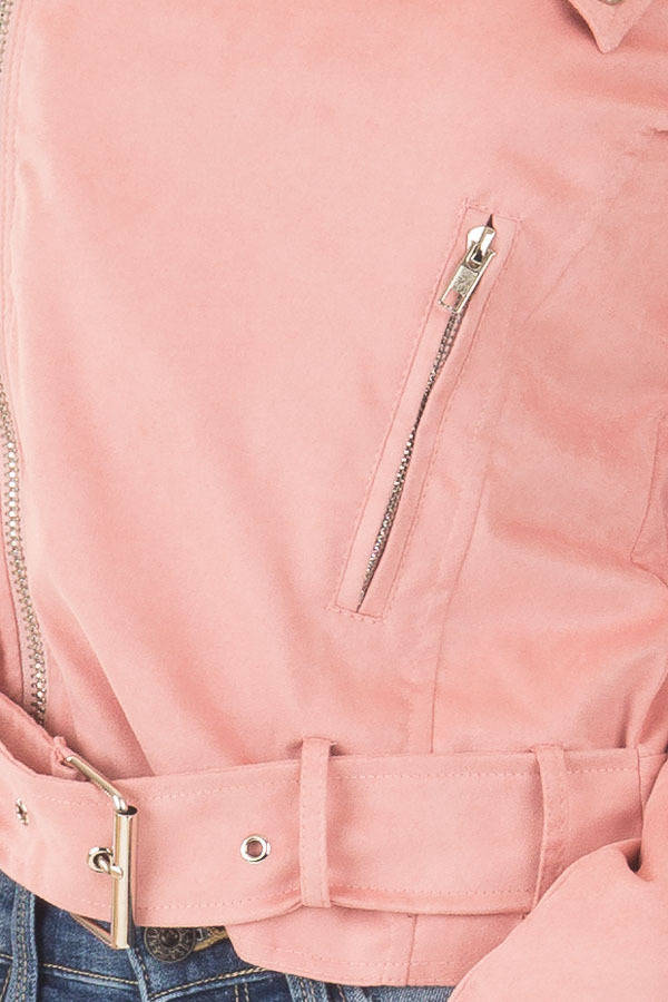 Dusty Pink Faux Suede Off the Shoulder Moto Jacket detail