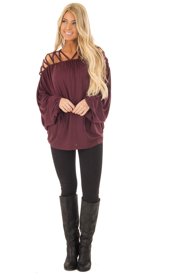 Burgundy Cage Neck Long Sleeve Top front full body