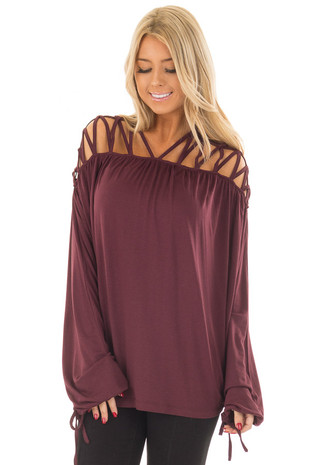 Burgundy Cage Neck Long Sleeve Top front close up