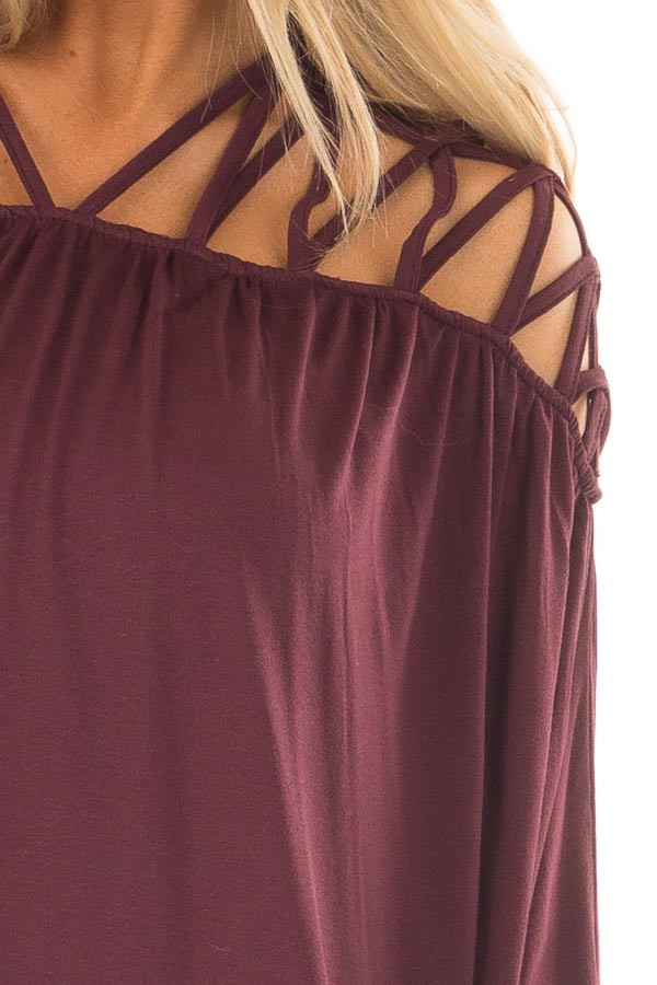 Burgundy Cage Neck Long Sleeve Top detail