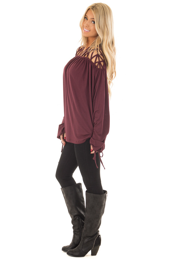 Burgundy Cage Neck Long Sleeve Top side full body