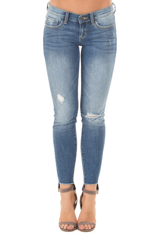 Medium Wash Distressed Denim with Hi Low Hem front view