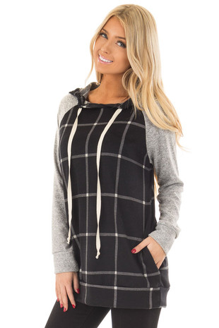 Black Windowpane Plaid Hoodie with Grey Contrast front close up