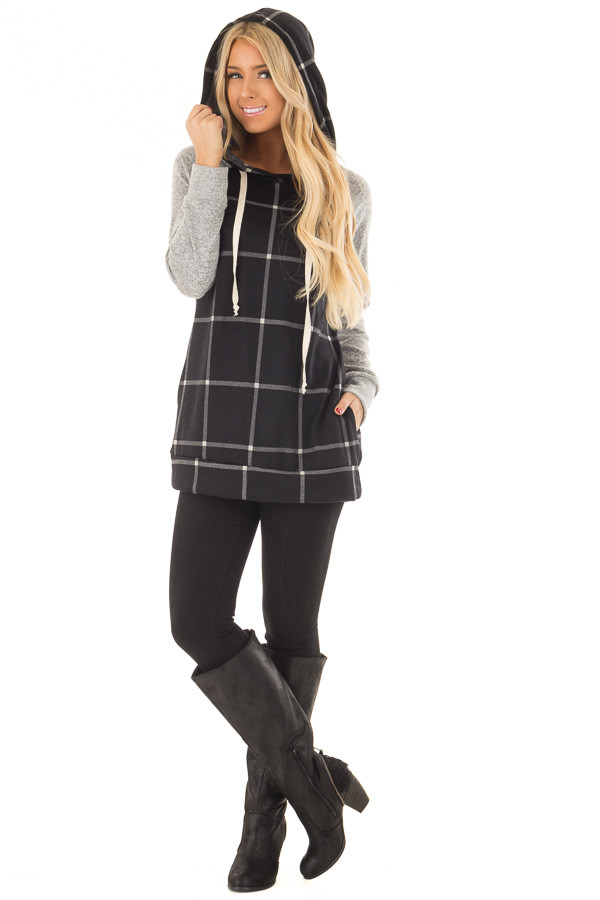 Black Windowpane Plaid Hoodie with Grey Contrast front full body