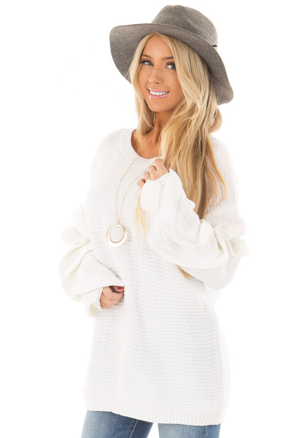 White Sweater with Ruffled Long Sleeves - Lime Lush Boutique