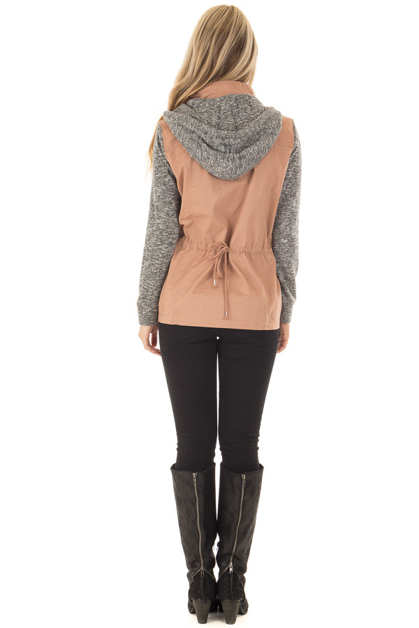 Deep Blush Hooded Jacket with Grey Knit Contrast back full body