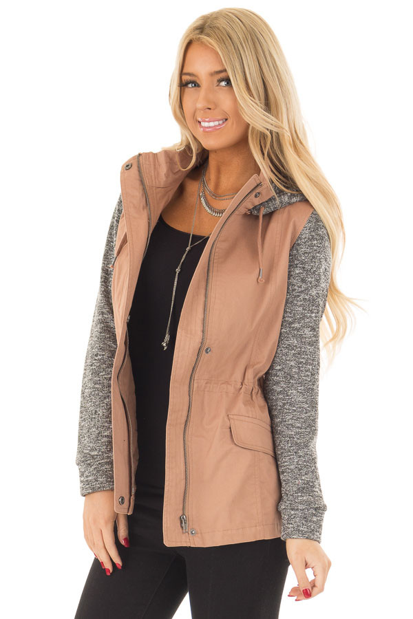 Deep Blush Hooded Jacket with Grey Knit Contrast front close up