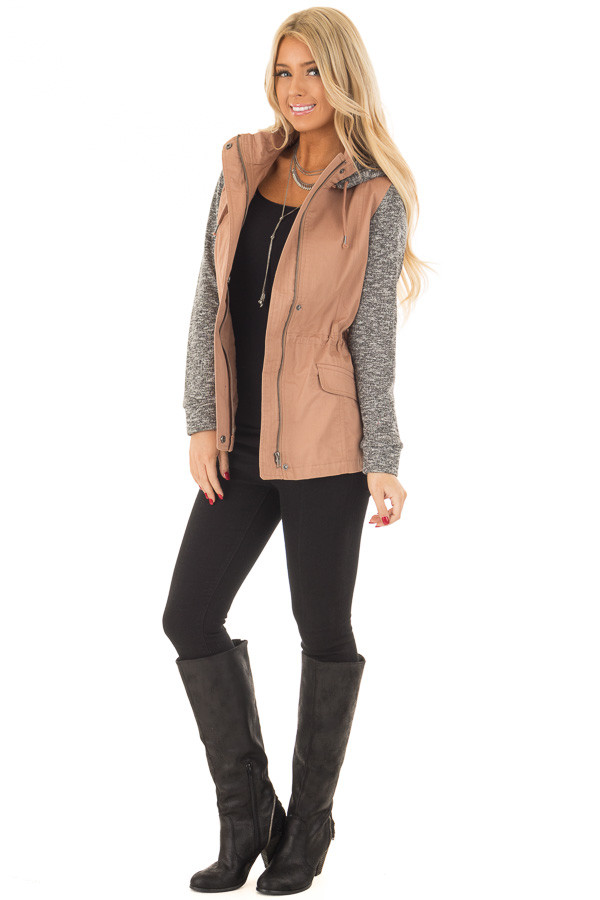 Deep Blush Hooded Jacket with Grey Knit Contrast front full body