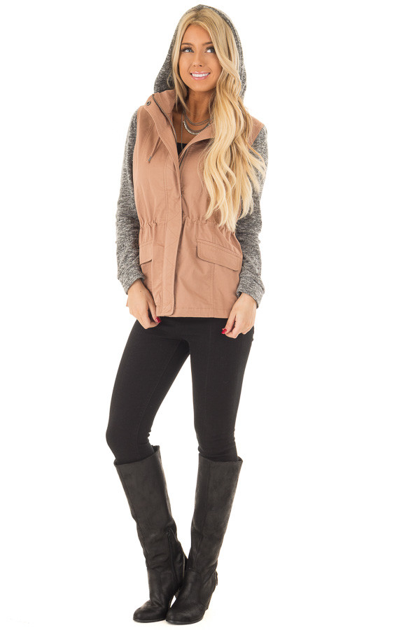 Deep Blush Hooded Jacket with Grey Knit Contrast frontf full body